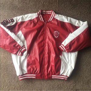 IU Indiana university faux leather college jacket